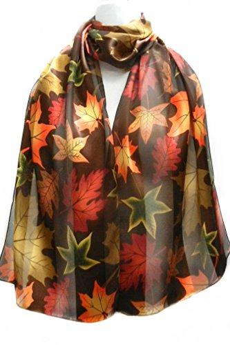 (Imagine If... Silk Feel Scarf - Vibrant Autumn Leaves on Brown)