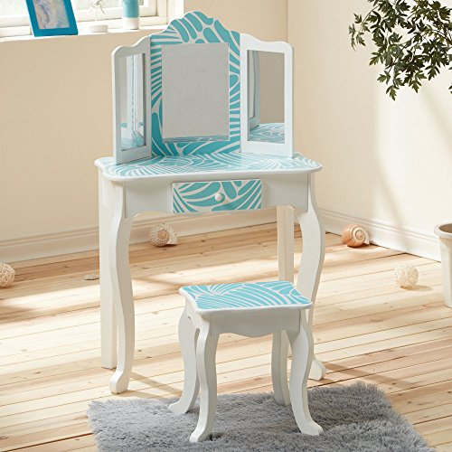 Teamson Kids - Fashion Print Vanity Table & Stool Set | Perfect for 3-5 Year Girls | Aqua Blue/Tropical from Teamson Kids