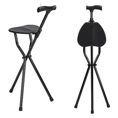 QIAN Trois Pattes Canne Tabouret Bton De Marche Chaise Pliante Portable Ges Stable Anti Drapant Triangle Multifonction