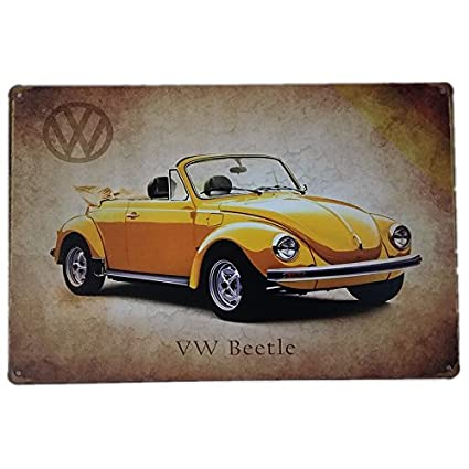 Placas Decorativas Vintage metalicas Coches Auto Volkswagen Beetle. Garaje Pared