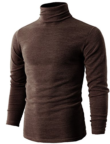H2H Mens Casual Turtleneck Slim Fit Pullover Sweaters with Twist Patterned BROWN US L/Asia 3XL (KMTTL028) ()