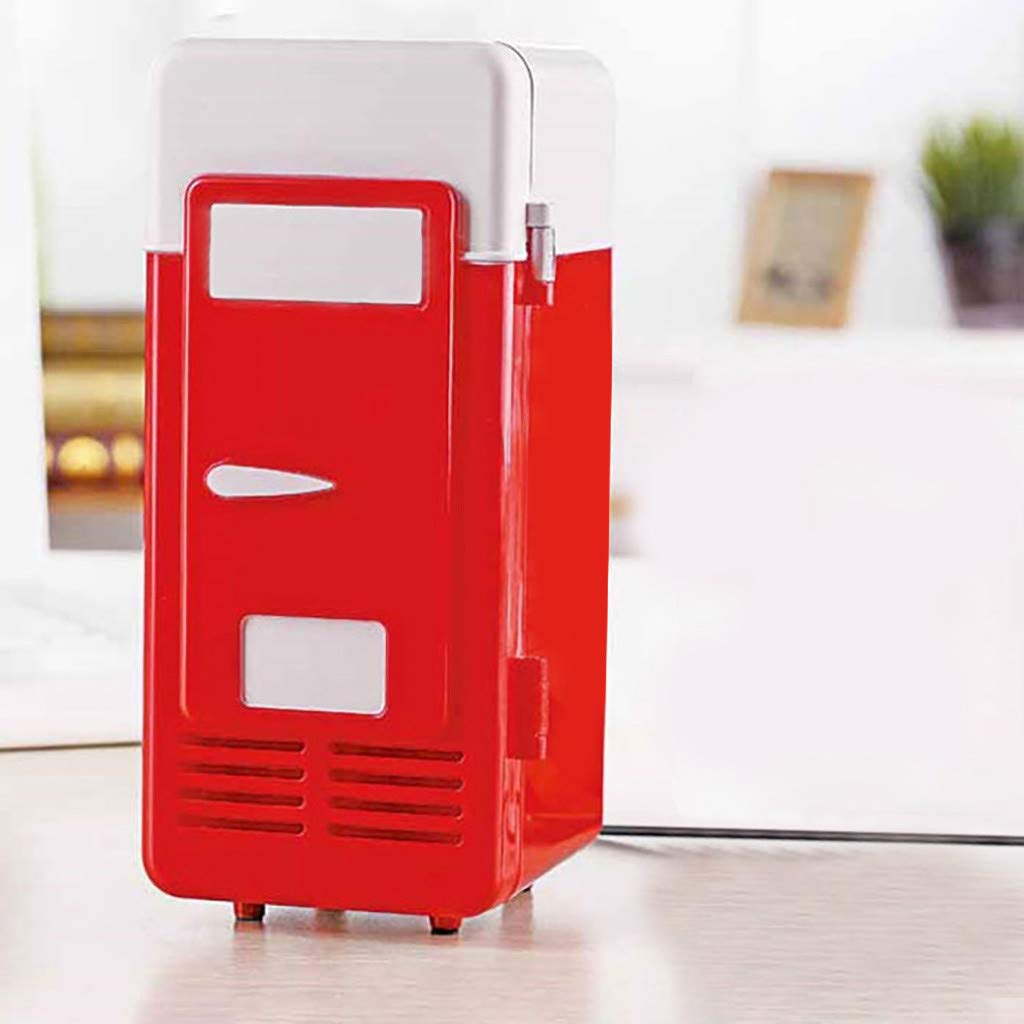 Kariwell Mini USB Refrigerators - [23 × 15 × 11cm] Portable Beverage Drink Cans Cooler Refrigeration for Car and Home (Red)