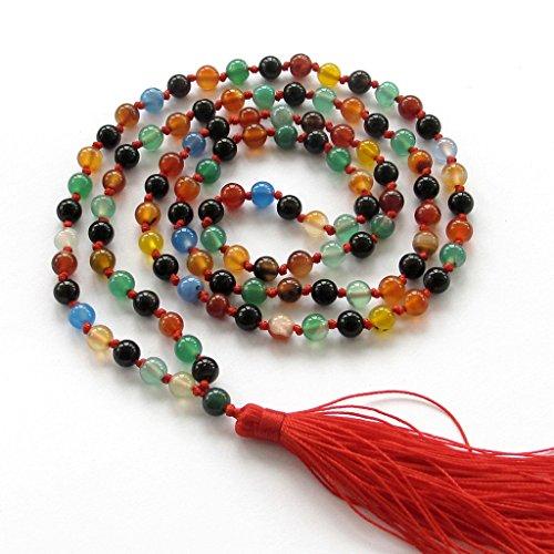 OVALBUY 6mm 108 Multiple Color Agate Beads Knotted Tibetan Buddhist Prayer Japa Mala for Meditation
