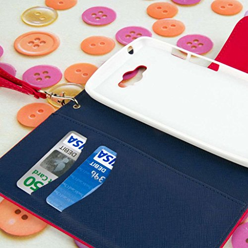 MPERO Motorola DROID Turbo Wallet Case, [Flex Flip] Cover with Card Slots and Wrist Strap (Hot Pink / Navy) Photo #8