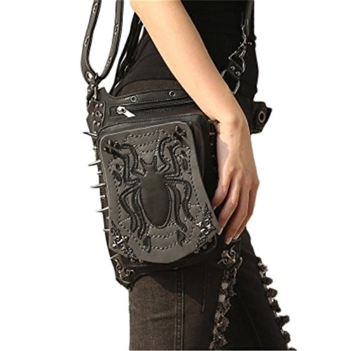 Master Bag (steel master Steampunk Black Waist Leather Bags Leg Thigh Hip Holster Purse Retro Waist Packs)