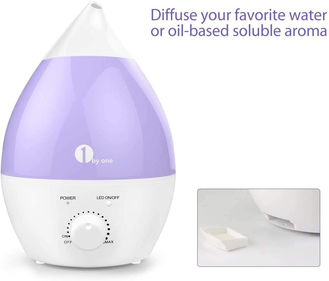 1 BY ONE Cool Mist Humidifier, 1300ML 0.29Gal Ultrasonic Humidifiers, End for Dry Air, No Noise 7 Color LED Night Lights with Automatic Shut off