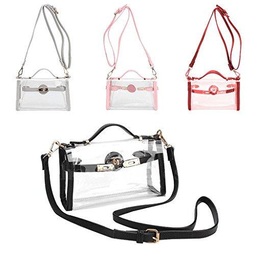 PVC JAGENIE Tote Shoulder Handbag Crossbody Light Bag Purse Black Clear Transparent Fashion Gray Stylish UUSYqWEr