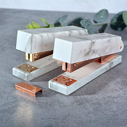 Desk Stapler Marble Printing, Rose Gold Tone Metal Stapler with Non-Slip Base-High Capacity,Heavy Duty Manual Staplers with 2 Boxes of Staples- School & Office Accessories Supplies by mebeaty (Image #1)