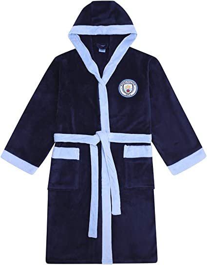 Manchester City Official Hooded Fleece Dressing Gown