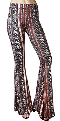 Daisy Del Sol High Waist Gypsy Comfy Yoga Ethnic Tribal Stretch 70s Bell Bottom Flare Pants (Large, Burgundy/Coral) for $<!--$26.95-->