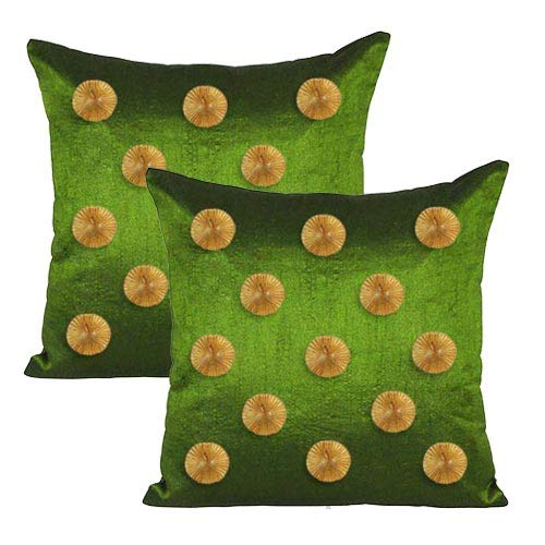 Pair of Green Square Cushion Covers With Flowers Poly Dupion Silk Plain Indian Sofa Pillow Case Home Decor 16
