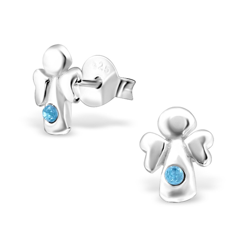 Hypoallergenic Angel Stud Earrings With Crystals for Girls (Nickel Free and Safe for Sensitive Ears) - Aqua Bohemica by Atik Jewelry (Image #1)