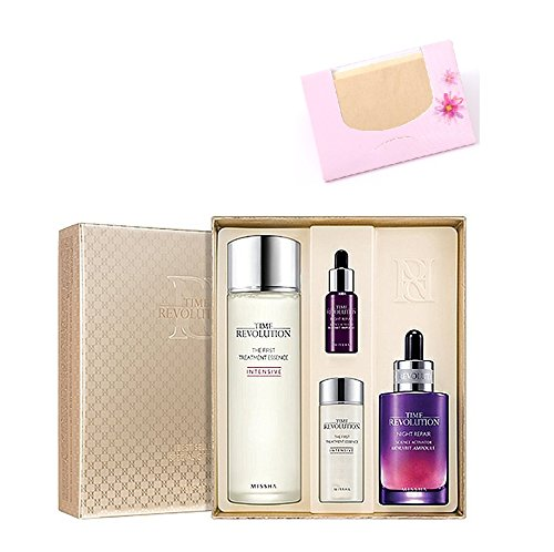 Price comparison product image Missha Time Revolution Best Seller Special 4 pcs set (The first treatment essence 150ml & Night repair new science activator ampoule 50ml) + SoltreeBundle Natural Hemp Paper 50pcs