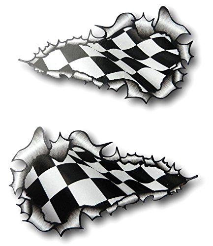 Pair of Ripped Torn Metal Chequered Flag Vinyl Stickers (External -