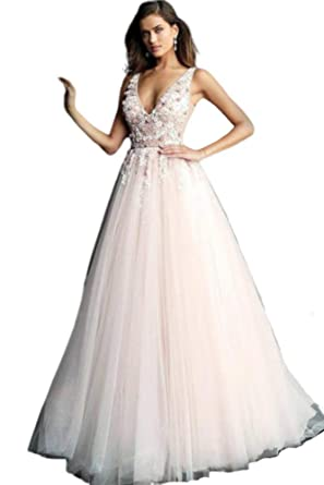 440ca79f0bb Jovani - 61109 Floral Applique Plunging V-Neck Tulle Ballgown at Amazon  Women s Clothing store