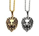 """Tidoo Jewelry Men's Lion Head Pendant Necklace with FREE 24"""" Chain 18k Real Gold/Silver Plated -Unique Valentine's Day Present Ideas for Men&Boy"""