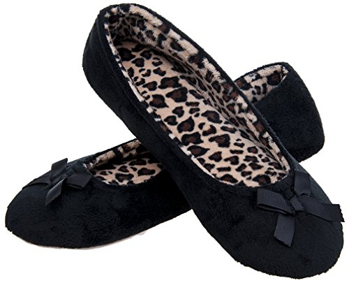and Elegant Slippers Sole Lightweight Indoor Terry Black Soft Womens Ballerina MIXIN tqTxafx