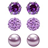JewelrieShop 3 Pairs Stud Earrings Set for women girls Cubic Zirconia Rhinestones Faux Pearl, Birthstone, Hypoallergenic, Stainless Steel Earrings Pin - Purple (Feb.)