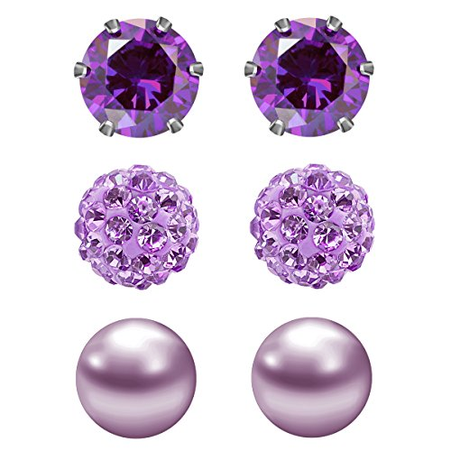 JewelrieShop 3 Pairs Stud Earrings Set for women girls Cubic Zirconia Rhinestones Faux Pearl, Birthstone, Hypoallergenic, Stainless Steel Earrings Pin - Purple (Feb.) (Citrine Topaz Rhinestone)