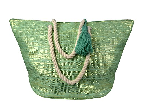 Peach Couture Gold Weave Large Travel Tote Hobo Handbags Shoulder Bags (Mint) (Hobo Peach)