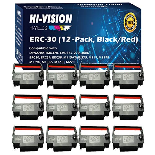 HI-Vision Compatible ERC 30/34/38 (Black/Red) Ink Ribbon Replacement (12 Pack) for ERC-30, M119, M119B, M119D, M133A, M270, M52JB, IT-U375, TM-200, TM-260