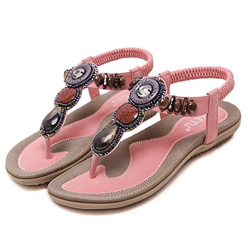 Microfibra Comfort In Primavera estate Piatto Punta Black mandorla Donna Bordatura Camminata Tacco Tonda Rosso rosa Da gore Scarpe Sandali qx4nBt04