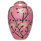 Pink Funeral Urn by Liliane Memorials - Cremation Urn for Human Ashes - Hand Made in Brass - Suitable for Cemetery Burial or Niche - Large Size fits remains of Adults up to 200 lbs - Fleur Pink Model