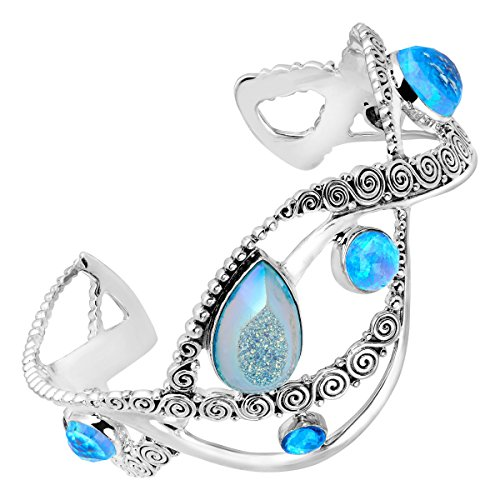 Sajen Natural Pariba Druzy & Blue Opal Doublet Cuff Bracelet in Sterling Silver by Sajen