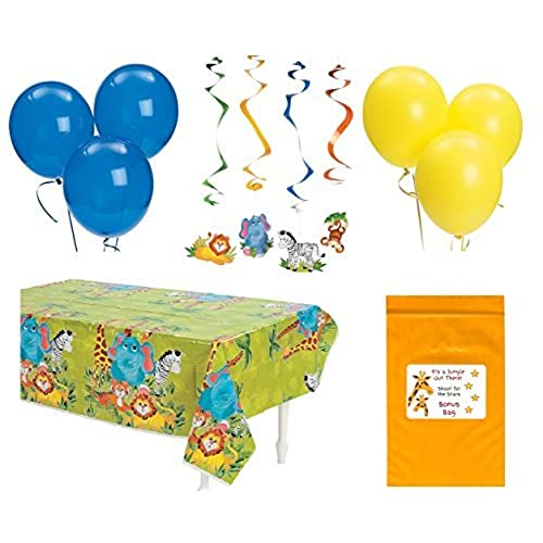 Zoo Animal Baby Shower Birthday Party Decorations Pack (1 Jungle Theme  Tablecover, 12 Hanging Safari Animal Swirls U0026 12 Balloons)
