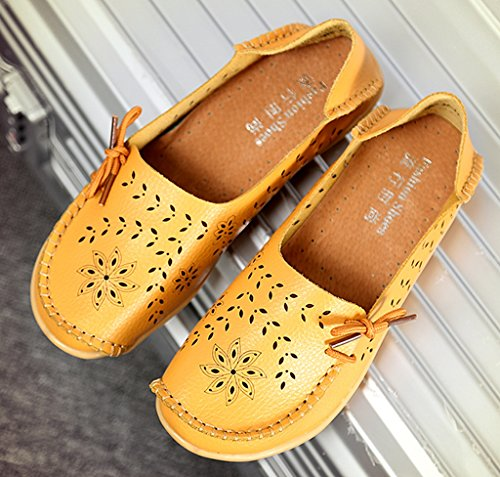 Loafers Yellow Slip Moccasin Women's Driving Labato Leather Casual Shoes on 02 Flats qfxAw