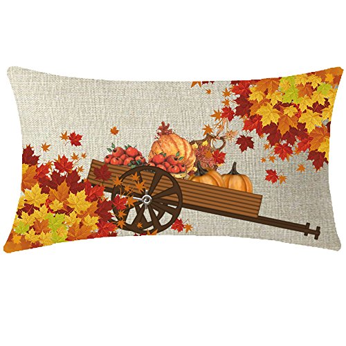 NIDITW Nice Gift Golden Autumn Blessing Be Thankful Fall Leaves Harvest Pumpkins Apples Trolley Lumbar Body Cotton Linen Throw Pillow case Cushion Cover Sofa Chair Decorative Oblong Long 12x20 Inches