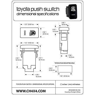 CH4X4 Push Switch for Toyota Tacoma 3rd Gen - Grille Led Lights Symbol 2 - White LED: Automotive