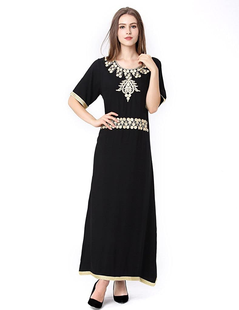 Baya Muslim Kaftan Dubai Half Sleeve Dress with Embroidery for Women Islamic Clothing Rayon Gown Jalabiyas