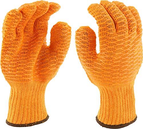 West Chester 708SKH M Gold Honeycomb PVC Grip String Knit Gloves, Orange, Medium (Pack of 12)