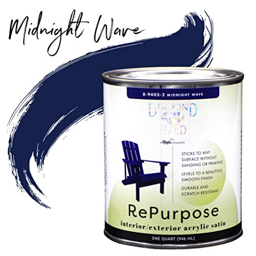 Majic Paints 8-9403-2 Diamond Hard Interior/Exterior Satin Paint RePurpose your Furniture, Cabinets, Glass, Metal, Tile, Wood and More and More, 1-Quart, Midnight Wave ()