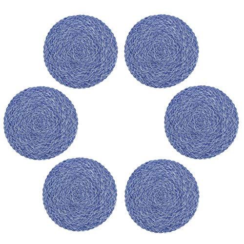 D-home Round Placemats Braided Placemat for Dining Table Heat Resistant Non-Slip Kitchen Table Mats Set of 6 Wider Thicker (Royal)