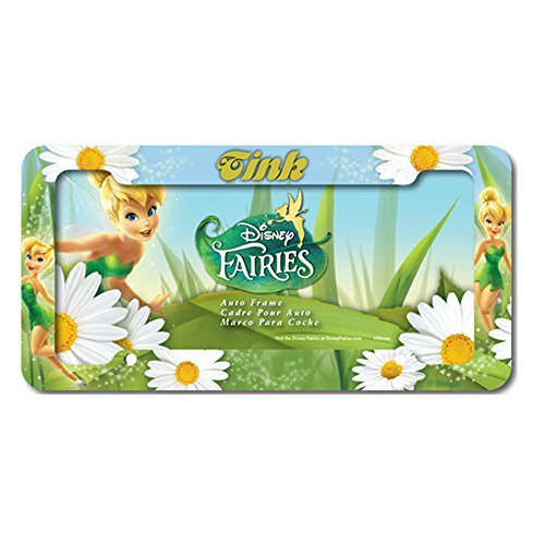 (Plastic License Plate Frame With Disney Fairies Design - Tinkerbell with White Flowers)