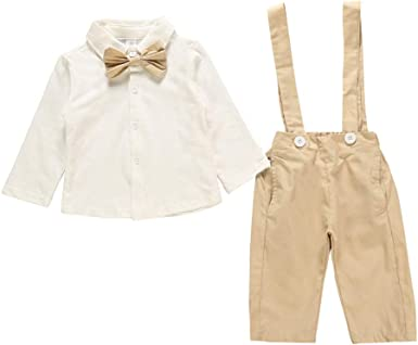 Toddler Boys Bowtie Gentleman Long Sleeve Tops T-Shirt Overall Pants Outfits Pollyhb Baby Boys Clothes Sets