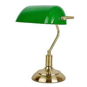 MiniSun - Lámpara de mesa tradicional de escritorio de banquero, en latón antiguo y verde