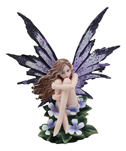 Ebros Amy Brown Whimsical Luna Periwinkle Flower Nude Garden Fairy Figurine FAE Magic Purple Fairy Statue Fantasy Collectible 5.25