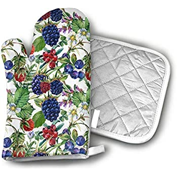 TRENDCAT Forest Berries Pattern Oven Mitts and Potholders (2-Piece Sets) - Extra Long Professional Heat Resistant Pot Holder & Baking Gloves - Food Safe