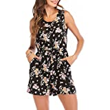 SUNNOW Women's Sleeveless Floral Printed Button Down Sexy Short Rompers and Jumpsuits with Pockets (M(US8-10), Black Floral)