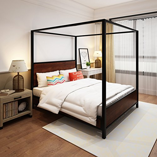 Great Deal Furniture Eatha Industrial Walnut Finished Acacia Wood Queen Size Canopy Bed with Black Metal Finished Iron Accents (Queen Canopy Wood)