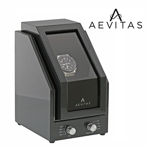 Brand New Watch Winder for 1 Watch Carbon Fibre Finish Black Velvet interior Premier Range by Aevitas by Aevitas