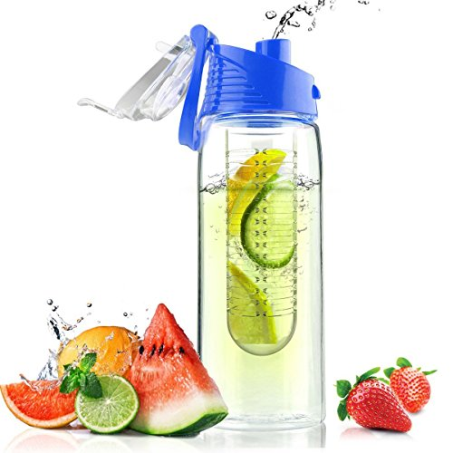 - Homiu Fruit Infuser Water Bottle 28 Ounces With Flip Lid and Carry Handle Premium Create Your Own Naturally Flavoured Drink Leak Proof BPA Toxin Free Ideal for Sports Health Outdoor Office Home (Blue)