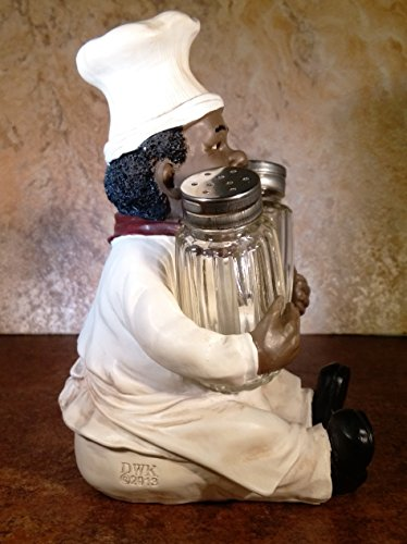 Pickup Soul Spice Black Chef Salt & Pepper Shakers Decorative Holder African-American Style Kitchen Dining Accessory by DWK deal