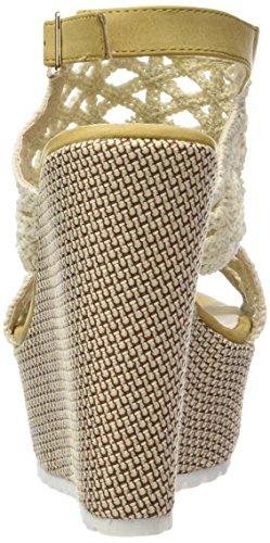 compensé Crochet Plateforme Talon brodé Mode Plateforme Sandale Tréssé Femme 13 Angkorly CM Chaussure Beige Mule Yyp1qvq
