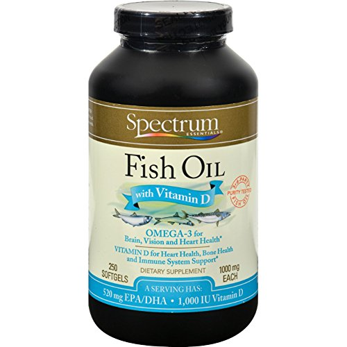 Spectrum Essentials, Fish Oil with Vitamin D 1000mg, 250 Softgels