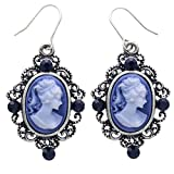 Navy Blue Cameo Earrings Dangle Drop Style Fashion Jewelry