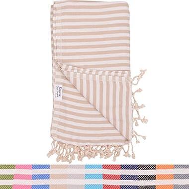 Beige Striped Turkish Towel - Naturally Dyed 100% Cotton - 70x39 inches - Beach Towel Bath Pool Yoga Pilates Picnic Blanket Scarf Peshtemal Hammam Fouta